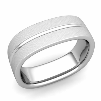 Square Wedding Ring in Platinum Brushed Finish Comfort Fit Wedding Band, 7mm