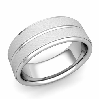 Comfort Fit Park Avenue Wedding Band in Platinum Brushed Finish Ring, 8mm