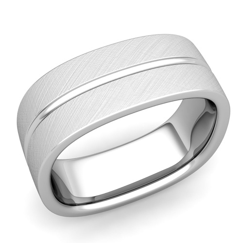 Square Wedding Ring In Platinum Brushed Finish Comfort Fit Band 8mm