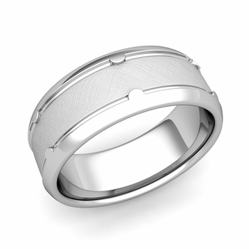 Unique Comfort Fit Wedding Band in Platinum Mixed Brushed Finish Ring, 8mm