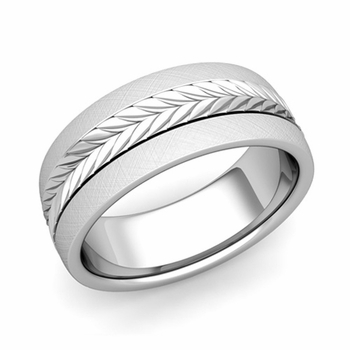 Garland Comfort Fit Wedding Band in Platinum Mixed Brushed Finish Ring, 8mm