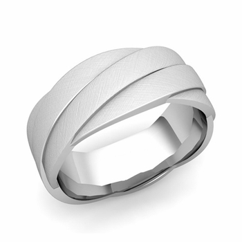 Past Present Future Wedding Band in Platinum Mixed Brushed Finish Ring, 8mm