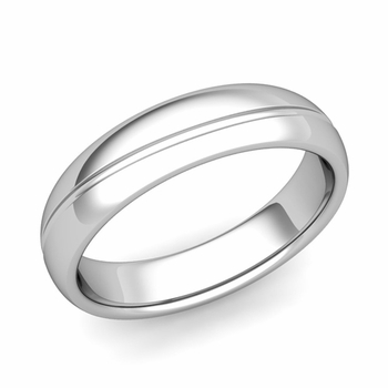 Wave Comfort Fit Wedding Band in Platinum Polished Finish Ring, 5mm