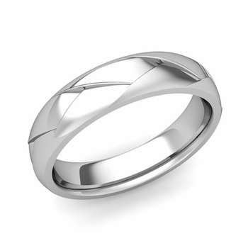 Love Folding Shiny Finish Wedding Ring in Platinum Comfort Fit Band, 5mm