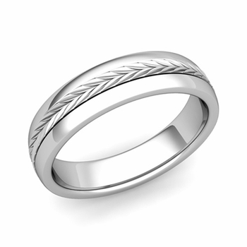 Garland Comfort Fit Wedding Band in Platinum Polished Finish Ring, 5mm