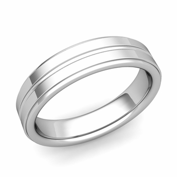 Comfort Fit Park Avenue Wedding Band in Platinum Polished Finish Ring, 5mm