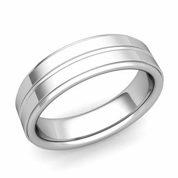 Comfort Fit Park Avenue Wedding Band in Platinum Polished Finish Ring, 6mm