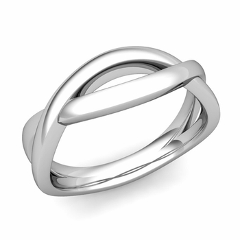 Shiny Finish Infinity Wedding Band Ring in Platinum Comfort Fit Band, 6mm