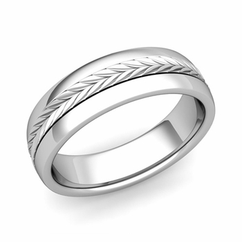 Garland Comfort Fit Wedding Band in Platinum Polished Finish Ring, 6mm