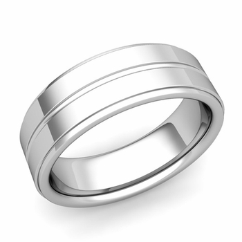 Comfort Fit Park Avenue Wedding Band in Platinum Polished Finish Ring, 7mm