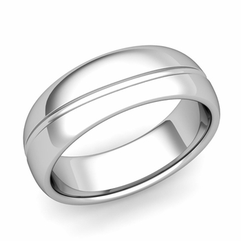 Wave Comfort Fit Wedding Band in Platinum Polished Finish Ring, 7mm