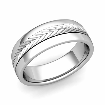Garland Comfort Fit Wedding Band in Platinum Polished Finish Ring, 7mm