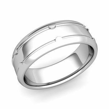 Unique Comfort Fit Wedding Band in Platinum Polished Finish Ring, 7mm