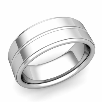 Comfort Fit Park Avenue Wedding Band in Platinum Polished Finish Ring, 8mm