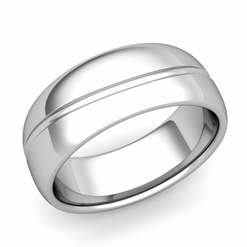 Wave Comfort Fit Wedding Band in Platinum Polished Finish Ring, 8mm