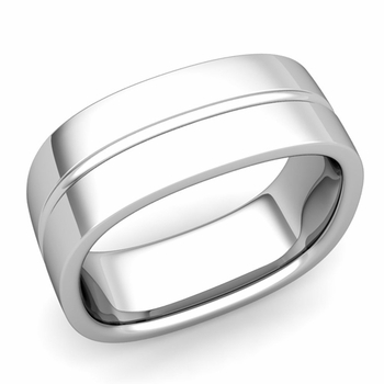 Square Wedding Ring in Platinum Shiny Finish Comfort Fit Wedding Band, 8mm