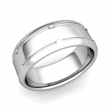 Unique Comfort Fit Wedding Band in Platinum Polished Finish Ring, 8mm