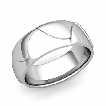 Harmony Comfort Fit Wedding Band in Platinum Polished Finish Ring, 8mm