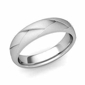Love Folding Satin Finish Wedding Ring in Platinum Comfort Fit Band, 5mm