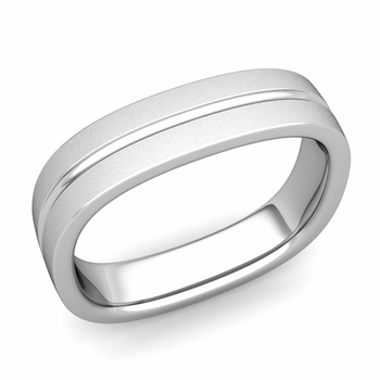 Square Wedding Ring in Platinum Satin Finish Comfort Fit Wedding Band, 5mm