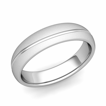 Wave Comfort Fit Wedding Band in Platinum Satin Matte Finish Ring, 5mm