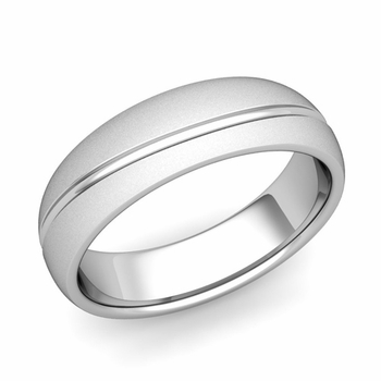 Wave Comfort Fit Wedding Band in Platinum Satin Matte Finish Ring, 6mm