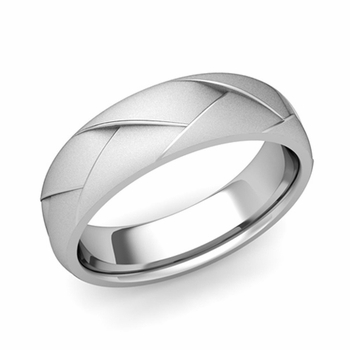 Love Folding Satin Finish Wedding Ring in Platinum Comfort Fit Band, 6mm