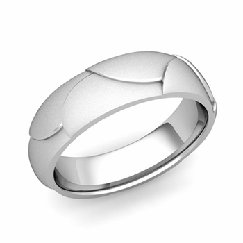 Harmony Comfort Fit Wedding Band in Platinum Satin Matte Finish Ring, 6mm