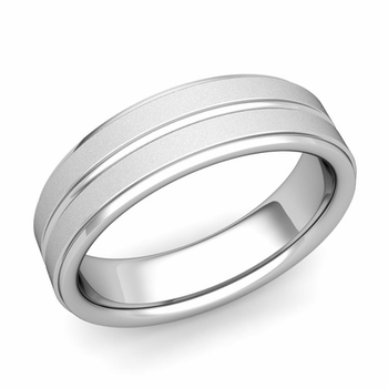 Comfort Fit Park Avenue Wedding Band in Platinum Satin Finish Ring, 6mm