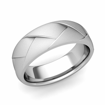 Love Folding Satin Finish Wedding Ring in Platinum Comfort Fit Band, 7mm