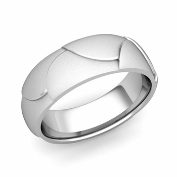 Harmony Comfort Fit Wedding Band in Platinum Satin Matte Finish Ring, 7mm
