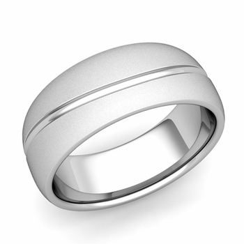 Wave Comfort Fit Wedding Band in Platinum Satin Matte Finish Ring, 8mm
