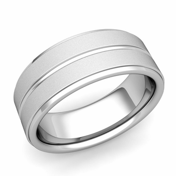 Comfort Fit Park Avenue Wedding Band in Platinum Satin Finish Ring, 8mm