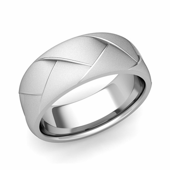 Love Folding Satin Finish Wedding Ring in Platinum Comfort Fit Band, 8mm