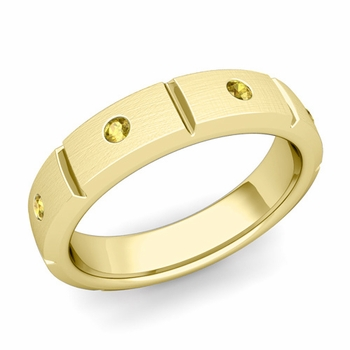 Swiss Cut Yellow Sapphire Wedding Ring in 18k Gold Brushed Ring, 5mm