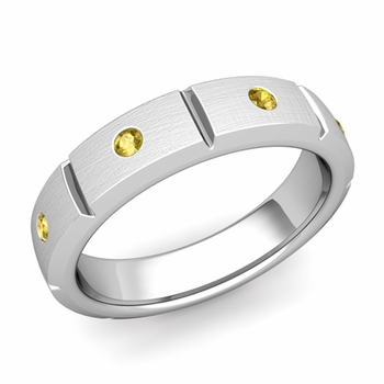 Swiss Cut Yellow Sapphire Wedding Ring in Platinum Brushed Ring, 5mm
