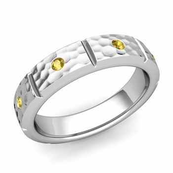 Swiss Cut Yellow Sapphire Wedding Ring in Platinum Hammered Ring, 5mm
