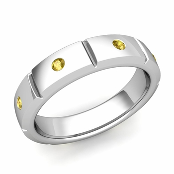 Swiss Cut Yellow Sapphire Wedding Ring in Platinum Shiny Ring, 5mm