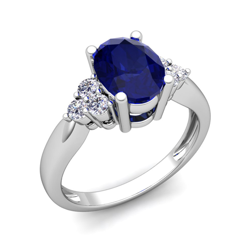 3 Stone Diamond And Blue Sapphire Engagement Ring In 14k Gold 9x7mm