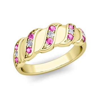 Twisted Diamond and Pink Sapphire Wedding Ring Band in 18k Gold, 5mm