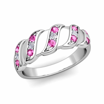 Twisted Diamond and Pink Sapphire Wedding Ring Band in Platinum, 5mm