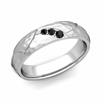 Unique 3 Stone Black Diamond Wedding Ring in 14k Gold Hammered Finish, 5mm