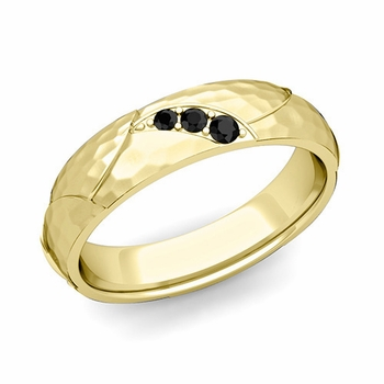 Unique 3 Stone Black Diamond Wedding Ring in 18k Gold Hammered Finish, 5mm