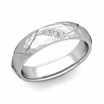 Unique 3 Stone Diamond Wedding Anniversary Ring in 14k Gold Hammered Finish, 5mm