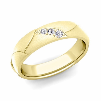 Unique 3 Stone Diamond Wedding Anniversary Ring in 18k Gold Brushed Finish, 5mm
