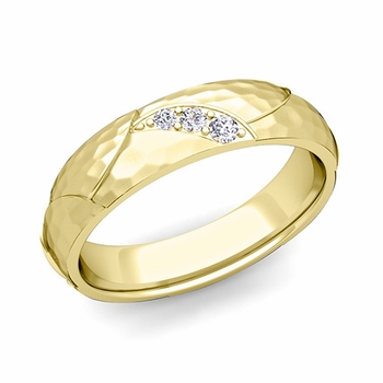 Unique 3 Stone Diamond Wedding Anniversary Ring in 18k Gold Hammered Finish, 5mm