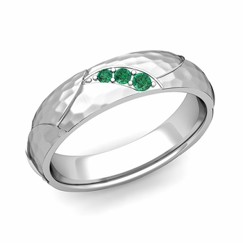 Unique 3 Stone Emerald Wedding Anniversary Ring in 14k Gold Hammered Finish, 5mm