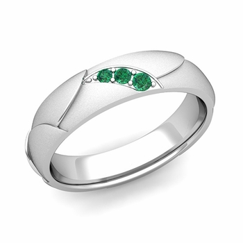 Unique 3 Stone Emerald Wedding Anniversary Ring in 14k Gold Satin Finish, 5mm