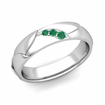 Unique 3 Stone Emerald Wedding Anniversary Ring in 14k Gold Shiny Finish, 5mm