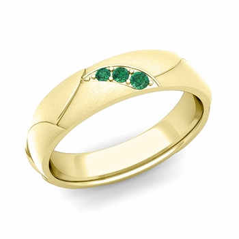 Unique 3 Stone Emerald Wedding Anniversary Ring in 18k Gold Brushed Finish, 5mm